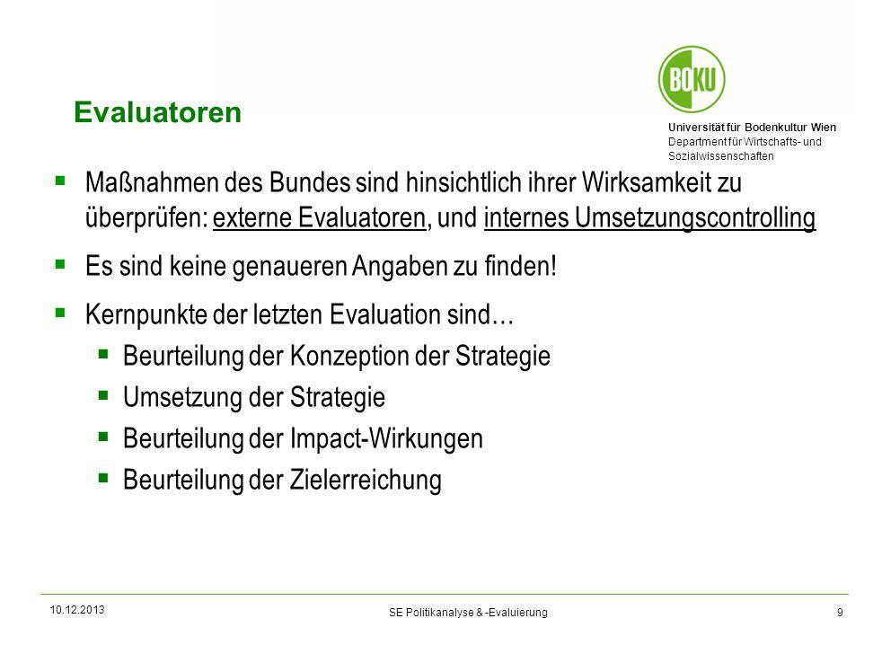 Universität für Bodenkultur Wien Department für Wirtschafts- und Sozialwissenschaften SE Politikanalyse & -Evaluierung Evaluatoren Maßnahmen des Bunde