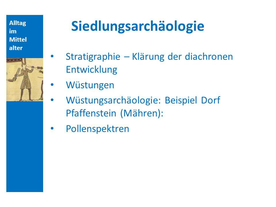 Alltag im Mittel alter Siedlungsarchäologie Stratigraphie – Klärung der diachronen Entwicklung Wüstungen Wüstungsarchäologie: Beispiel Dorf Pfaffenstein (Mähren): Pollenspektren