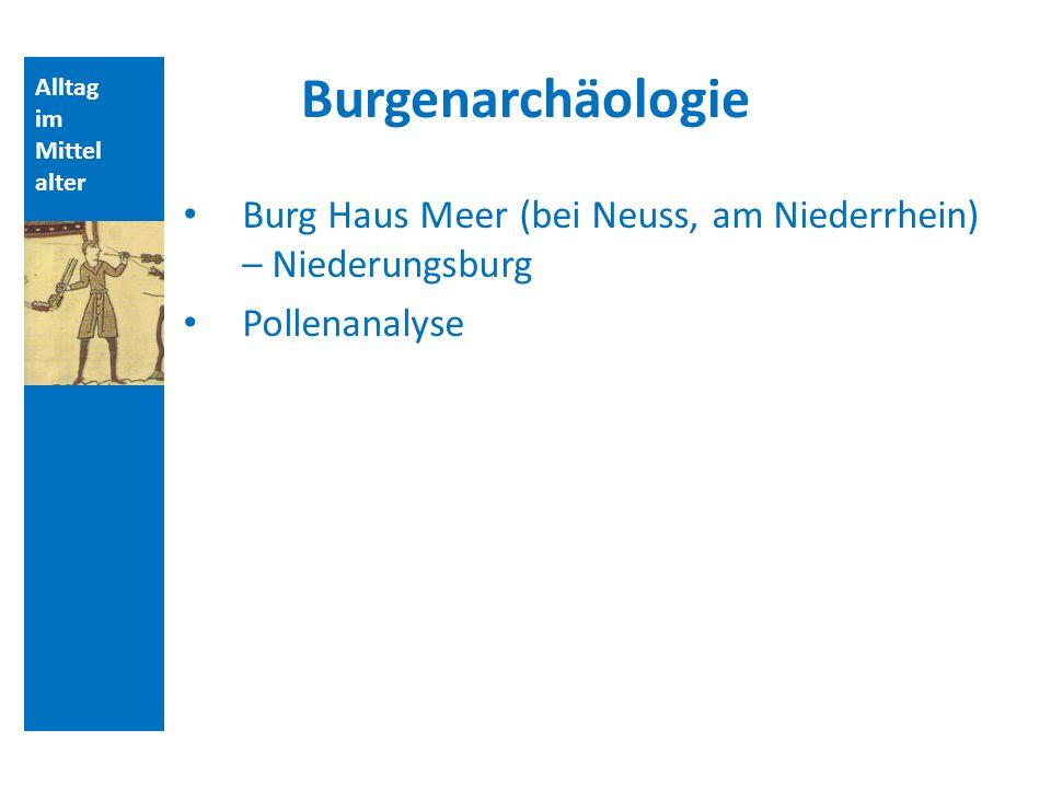 Alltag im Mittel alter Burgenarchäologie Burg Haus Meer (bei Neuss, am Niederrhein) – Niederungsburg Pollenanalyse