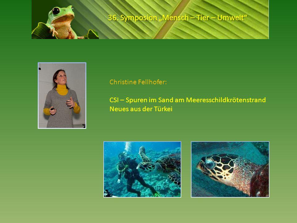 36. Symposion Mensch – Tier – Umwelt Christine Fellhofer: CSI – Spuren im Sand am Meeresschildkrötenstrand Neues aus der Türkei