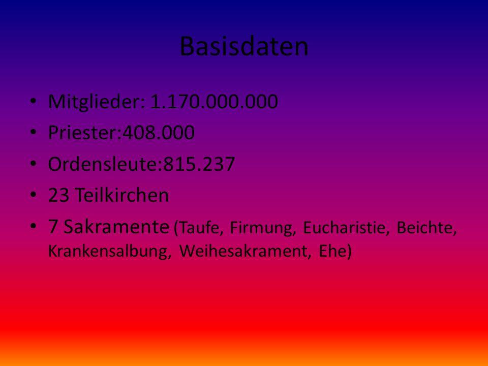 Basisdaten Mitglieder: 1.170.000.000 Priester:408.000 Ordensleute:815.237 23 Teilkirchen 7 Sakramente (Taufe, Firmung, Eucharistie, Beichte, Krankensa