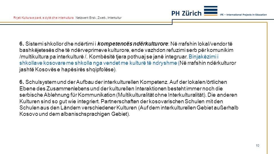 Rrjeti Kultura e parë, e dytë dhe interkultura Netzwerk Erst-, Zweit-, Interkultur 6. Sistemi shkollor dhe ndërtimi i kompetencës ndërkulturore: Në rr