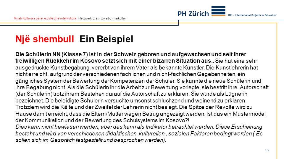 Rrjeti Kultura e parë, e dytë dhe interkultura Netzwerk Erst-, Zweit-, Interkultur Një shembull Ein Beispiel Die Schülerin NN (Klasse 7) ist in der Sc
