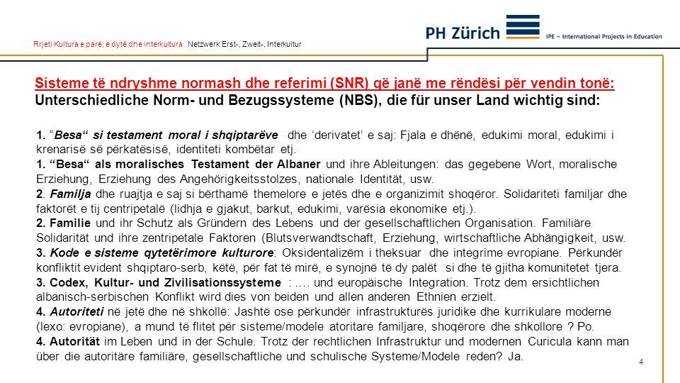 Rrjeti Kultura e parë, e dytë dhe interkultura Netzwerk Erst-, Zweit-, Interkultur 1. Besa si testament moral i shqiptarëve dhe derivatet e saj: Fjala