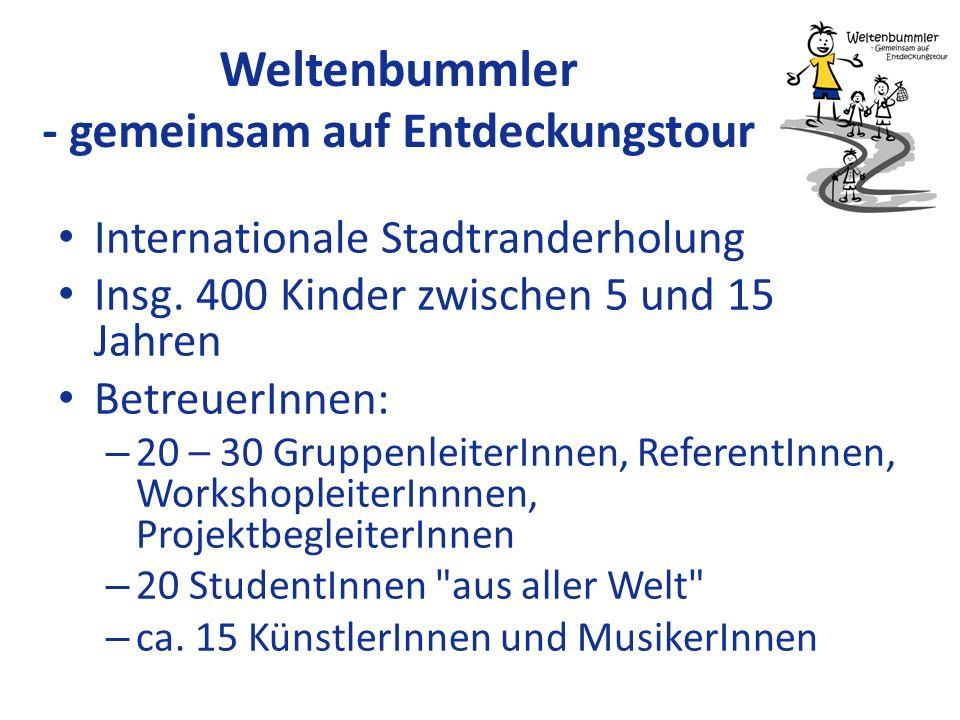 Weltenbummler - gemeinsam auf Entdeckungstour Internationale Stadtranderholung Insg. 400 Kinder zwischen 5 und 15 Jahren BetreuerInnen: – 20 – 30 Grup