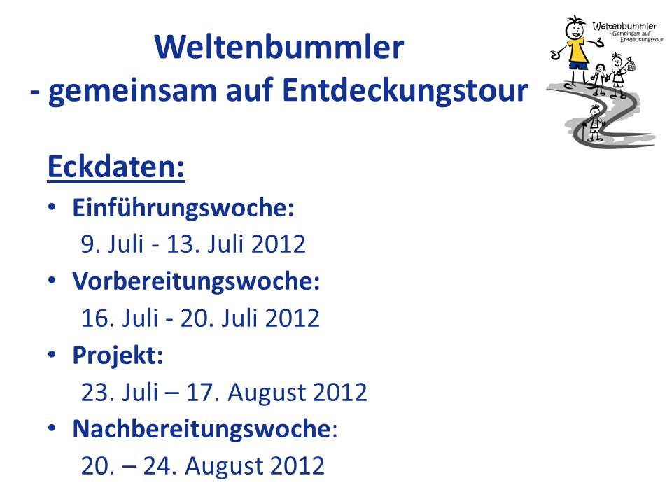Kontakt/Informationen www.weltenbummler2012.de Email: info@weltenbummler2012.de Ansprechpartner: – Janina Schulz (AIESEC) – Laura Ehrmanntraut (AIESEC) – Katharina Wehrkamp (Kompass e.V.) – Celi Klatt (Haus der Vielfalt)