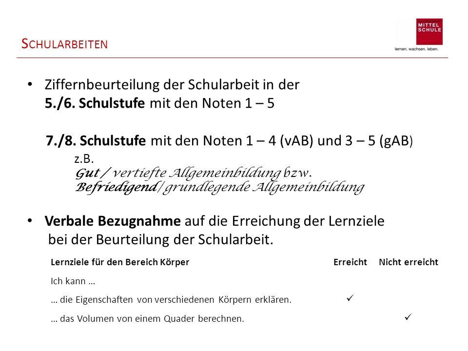 S CHULARBEITEN Ziffernbeurteilung der Schularbeit in der 5./6.