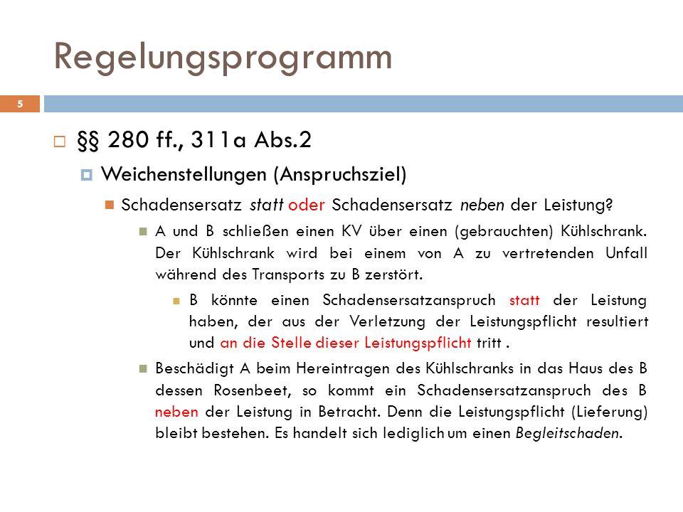 Regelungsprogramm 5 §§ 280 ff., 311a Abs.2 Weichenstellungen (Anspruchsziel) Schadensersatz statt oder Schadensersatz neben der Leistung? A und B schl