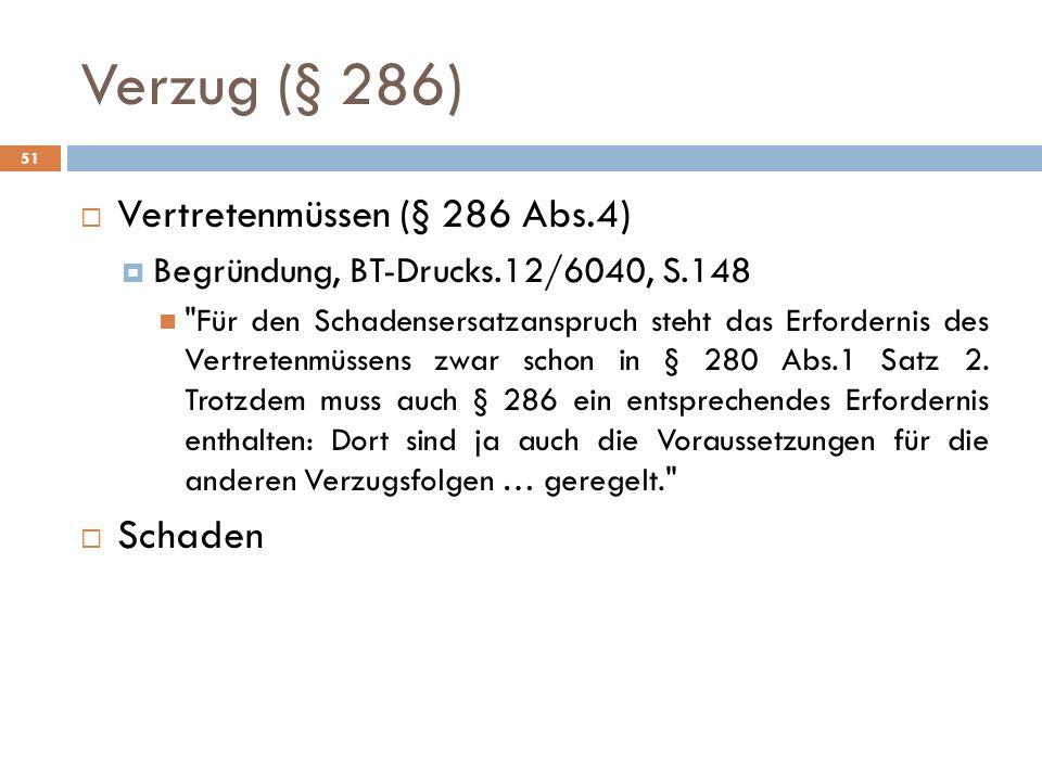 Verzug (§ 286) 51 Vertretenmüssen (§ 286 Abs.4) Begründung, BT-Drucks.12/6040, S.148
