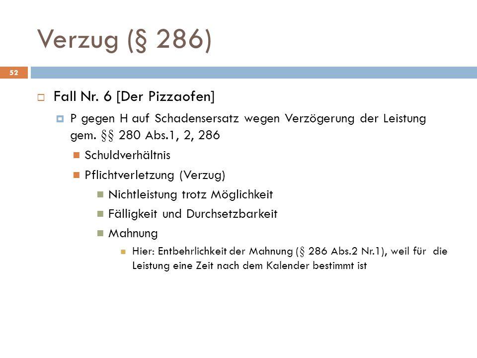 Verzug (§ 286) 52 Fall Nr. 6 [Der Pizzaofen] P gegen H auf Schadensersatz wegen Verzögerung der Leistung gem. §§ 280 Abs.1, 2, 286 Schuldverhältnis Pf