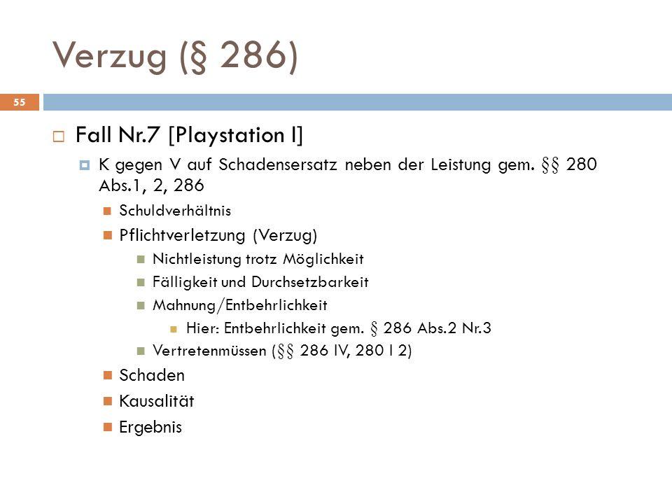 Verzug (§ 286) 55 Fall Nr.7 [Playstation I] K gegen V auf Schadensersatz neben der Leistung gem. §§ 280 Abs.1, 2, 286 Schuldverhältnis Pflichtverletzu