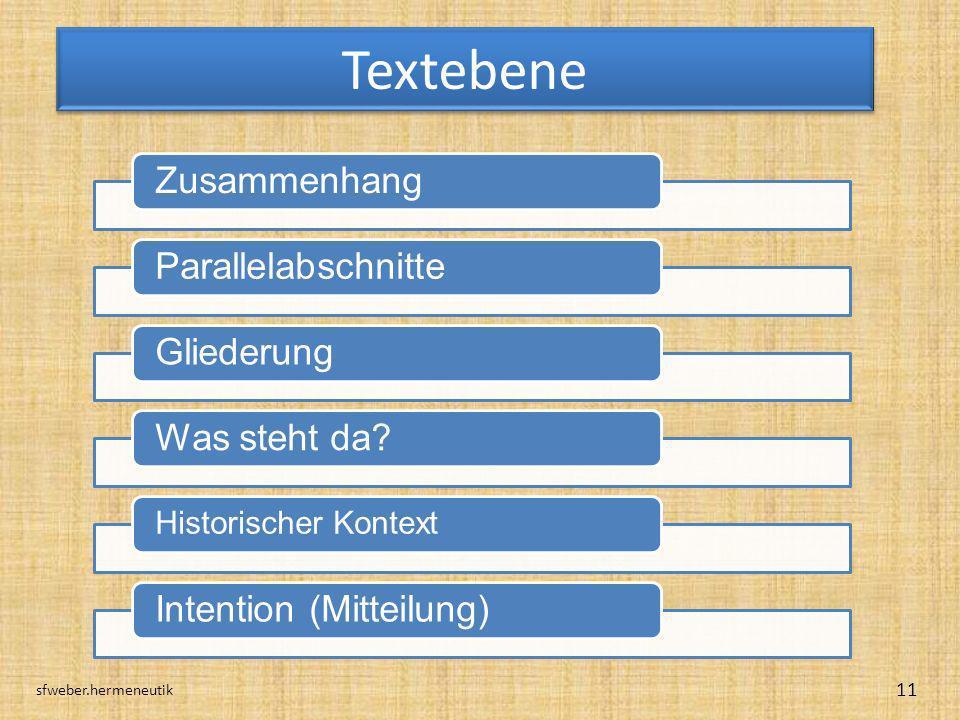 Textebene sfweber.hermeneutik 11 ZusammenhangParallelabschnitteGliederungWas steht da? Historischer Kontext Intention (Mitteilung)