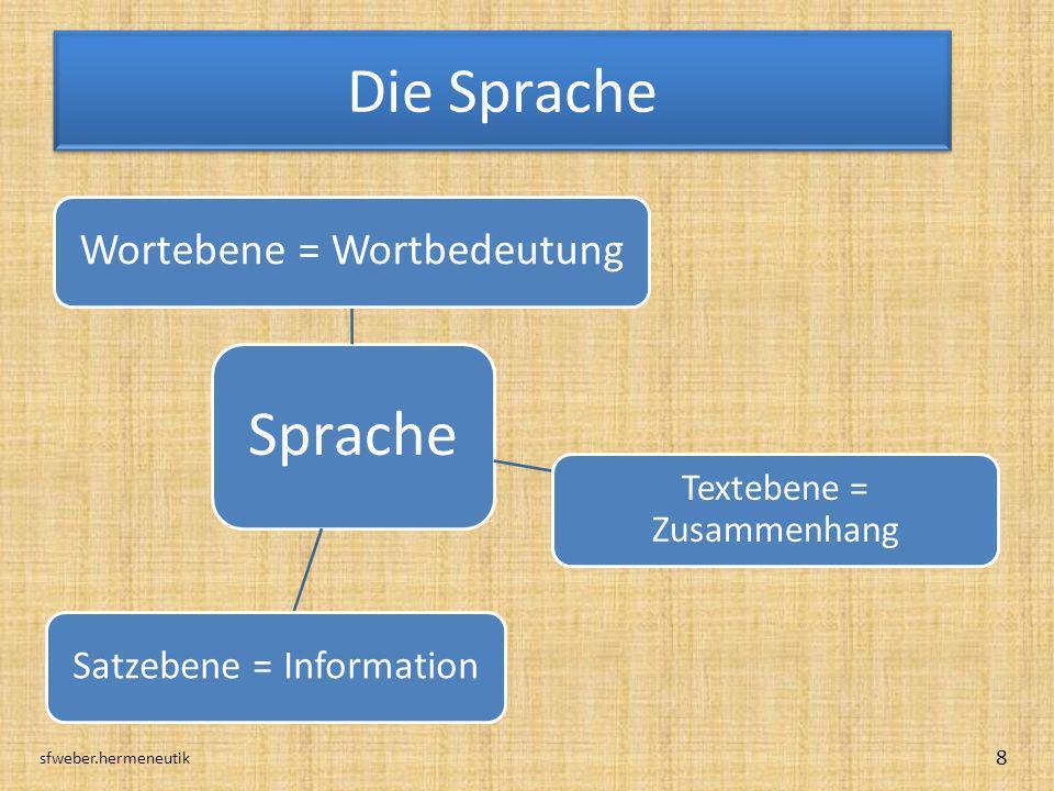 Die Sprache sfweber.hermeneutik 8 Sprache Wortebene = Wortbedeutung Textebene = Zusammenhang Satzebene = Information