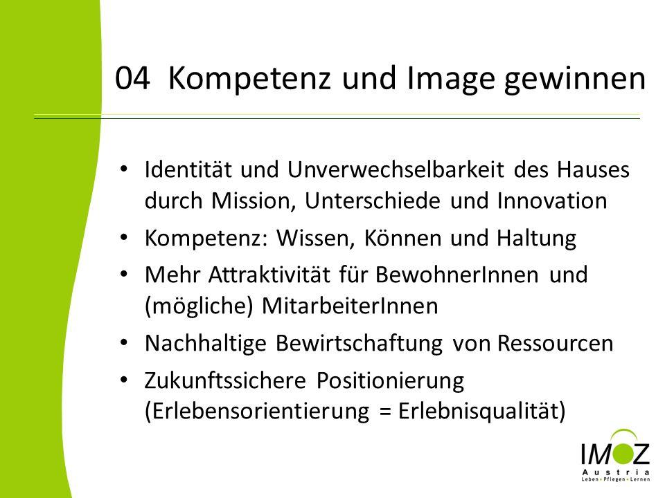 04 Kompetenz und Image gewinnen Identität und Unverwechselbarkeit des Hauses durch Mission, Unterschiede und Innovation Kompetenz: Wissen, Können und
