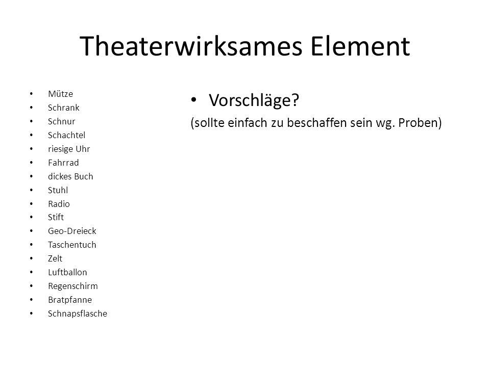 Theaterwirksames Element Mütze Schrank Schnur Schachtel riesige Uhr Fahrrad dickes Buch Stuhl Radio Stift Geo-Dreieck Taschentuch Zelt Luftballon Rege
