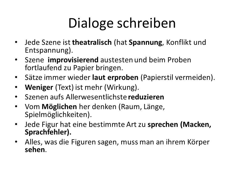 Dialoge schreiben Jede Szene ist theatralisch (hat Spannung, Konflikt und Entspannung). Szene improvisierend austesten und beim Proben fortlaufend zu