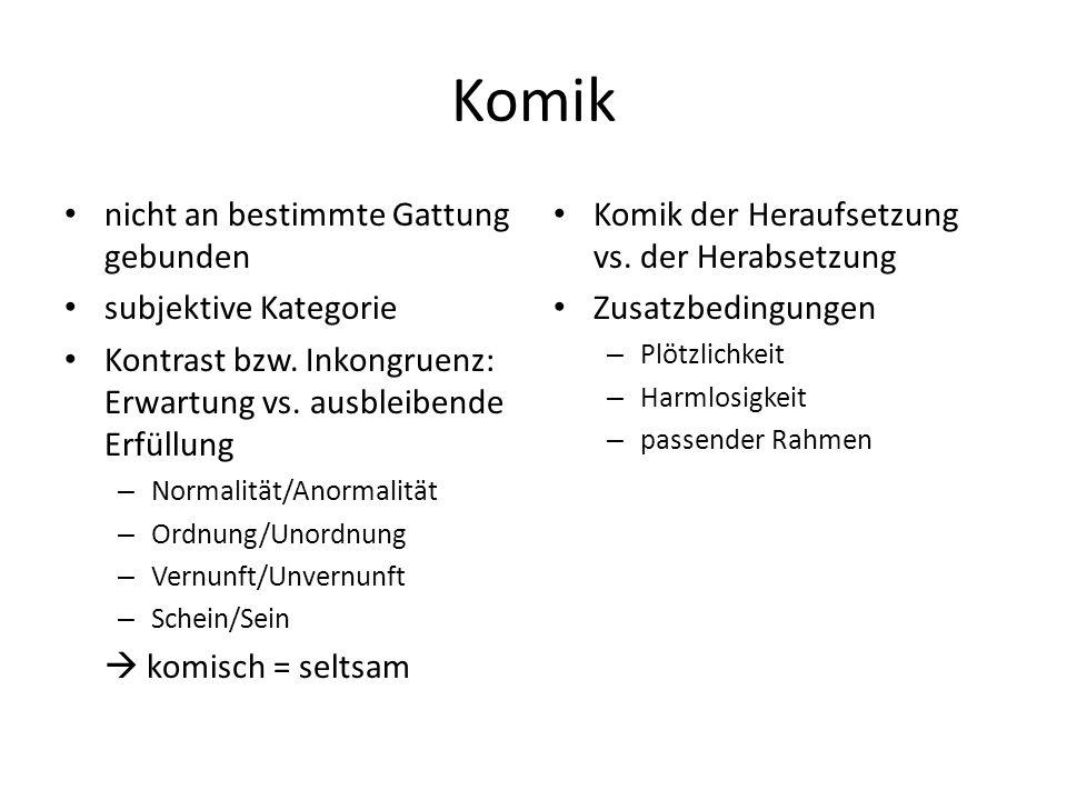 Komik nicht an bestimmte Gattung gebunden subjektive Kategorie Kontrast bzw. Inkongruenz: Erwartung vs. ausbleibende Erfüllung – Normalität/Anormalitä