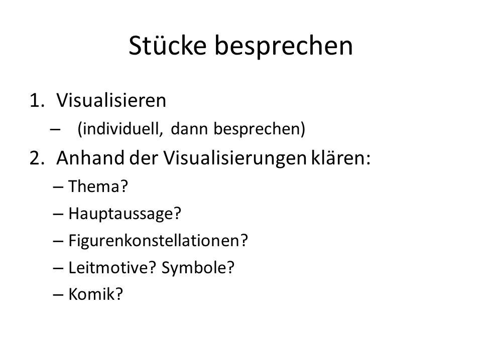 Stücke besprechen 1.Visualisieren – (individuell, dann besprechen) 2.Anhand der Visualisierungen klären: – Thema? – Hauptaussage? – Figurenkonstellati