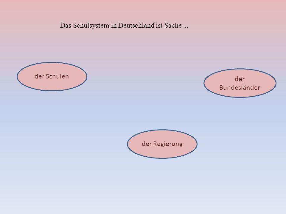 Das Schulsystem in Deutschland ist Sache… der Schulen der Bundesländer der Regierung