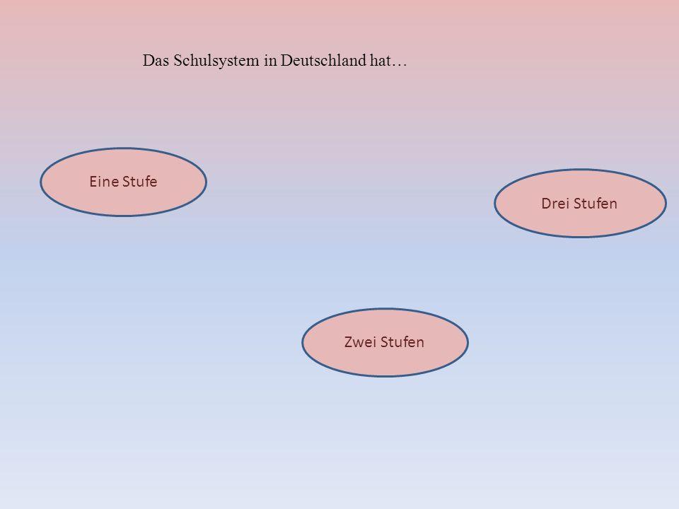 Das Schulsystem in Deutschland hat… Eine Stufe Drei Stufen Zwei Stufen