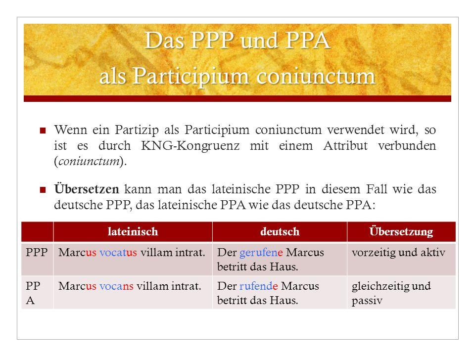 Das PPP und PPA als Participium coniunctum Wenn ein Partizip als Participium coniunctum verwendet wird, so ist es durch KNG-Kongruenz mit einem Attrib