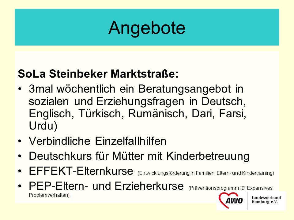 Angebote SoLa Steinbeker Marktstraße: 3mal wöchentlich ein Beratungsangebot in sozialen und Erziehungsfragen in Deutsch, Englisch, Türkisch, Rumänisch