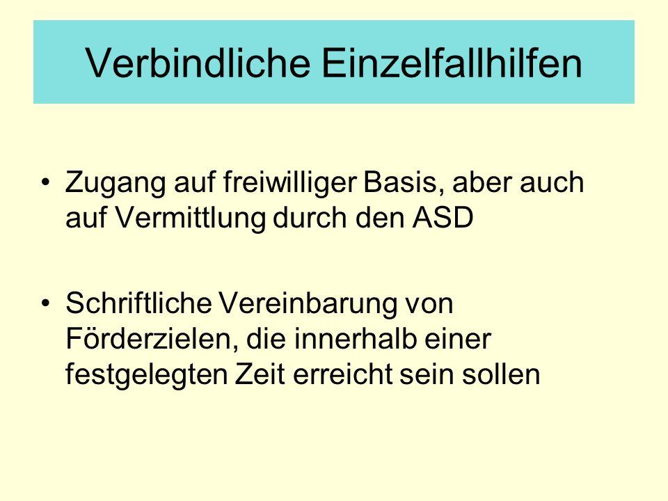Verbindliche Einzelfallhilfen Zugang auf freiwilliger Basis, aber auch auf Vermittlung durch den ASD Schriftliche Vereinbarung von Förderzielen, die i