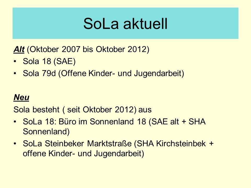 SoLa aktuell Alt (Oktober 2007 bis Oktober 2012) Sola 18 (SAE) Sola 79d (Offene Kinder- und Jugendarbeit) Neu Sola besteht ( seit Oktober 2012) aus So
