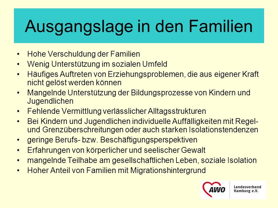 Ausgangslage in den Familien Hohe Verschuldung der Familien Wenig Unterstützung im sozialen Umfeld Häufiges Auftreten von Erziehungsproblemen, die aus