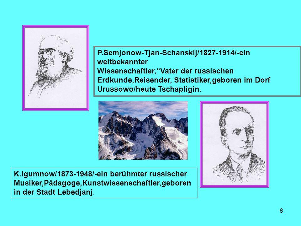 P.Semjonow-Tjan-Schanskij/1827-1914/-ein weltbekannter Wissenschaftler,Vater der russischen Erdkunde,Reisender, Statistiker,geboren im Dorf Urussowo/h