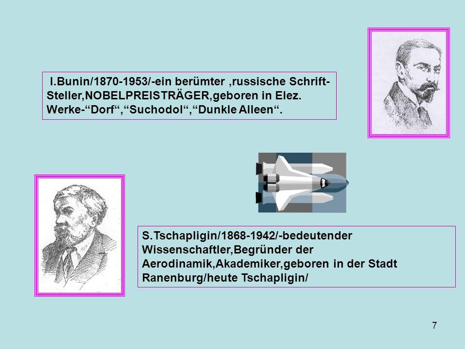 I.Bunin/1870-1953/-ein berümter,russische Schrift- Steller,NOBELPREISTRÄGER,geboren in Elez. Werke-Dorf,Suchodol,Dunkle Alleen. S.Tschapligin/1868-194