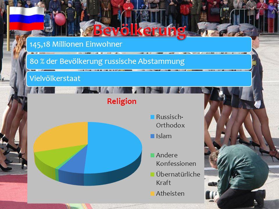 145,18 Millionen Einwohner80 % der Bevölkerung russische AbstammungVielvölkerstaat