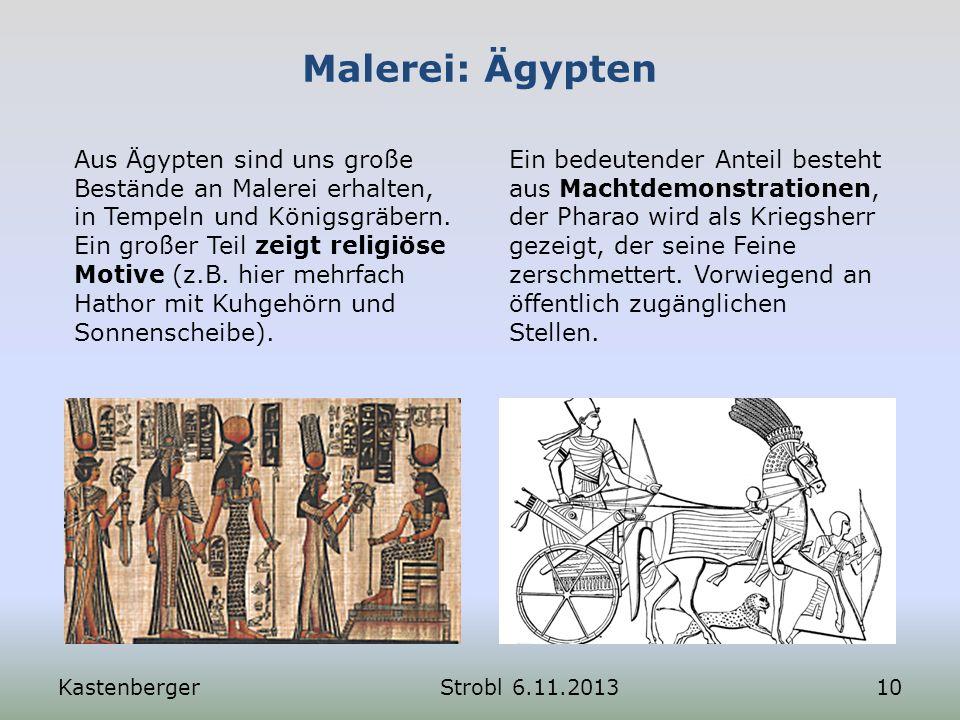 Malerei: Ägypten Aus Ägypten sind uns große Bestände an Malerei erhalten, in Tempeln und Königsgräbern. Ein großer Teil zeigt religiöse Motive (z.B. h
