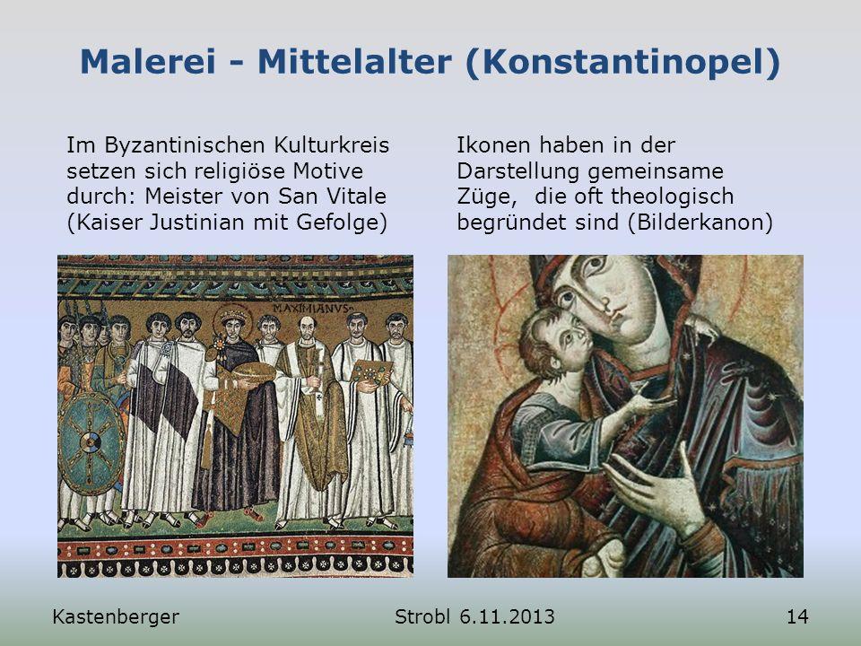 Malerei - Mittelalter (Konstantinopel) Im Byzantinischen Kulturkreis setzen sich religiöse Motive durch: Meister von San Vitale (Kaiser Justinian mit