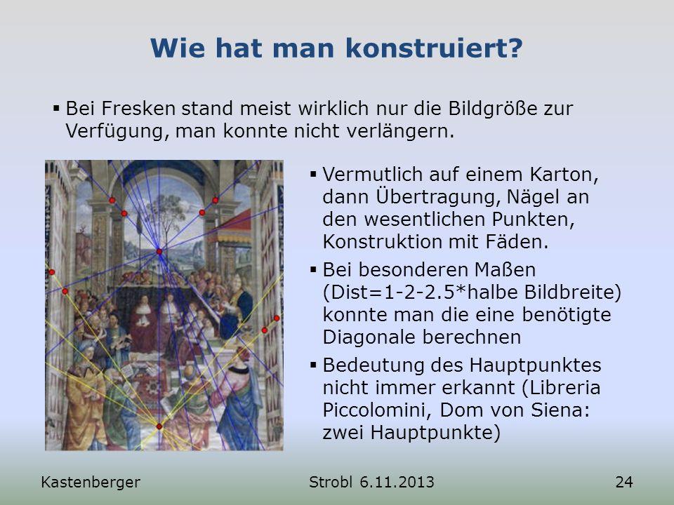 Wie hat man konstruiert? KastenbergerStrobl 6.11.201324 Bei Fresken stand meist wirklich nur die Bildgröße zur Verfügung, man konnte nicht verlängern.