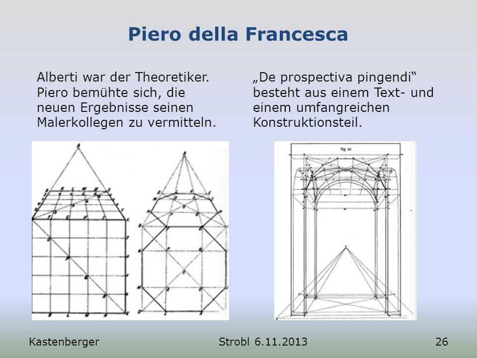 Piero della Francesca Alberti war der Theoretiker. Piero bemühte sich, die neuen Ergebnisse seinen Malerkollegen zu vermitteln. De prospectiva pingend