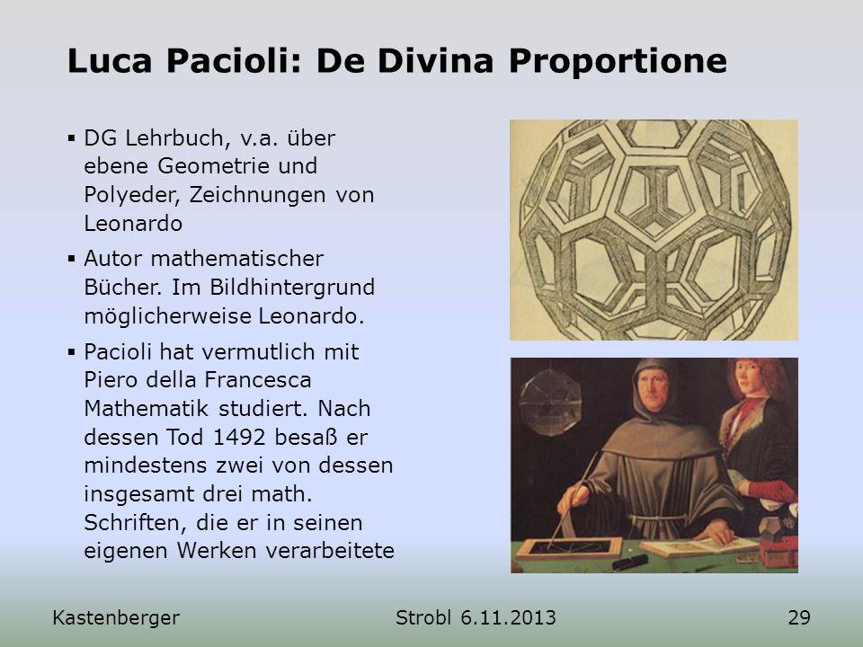 KastenbergerStrobl 6.11.201329 Luca Pacioli: De Divina Proportione DG Lehrbuch, v.a. über ebene Geometrie und Polyeder, Zeichnungen von Leonardo Autor