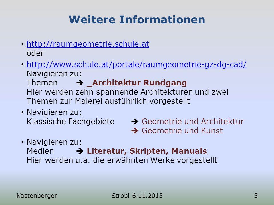 Die Aufteilung des Bildbereiches KastenbergerStrobl 6.11.201334 Die in der vorigen Folie eingetragenen Konstruktionen führen schließlich zu dieser Einteilung der Fläche.