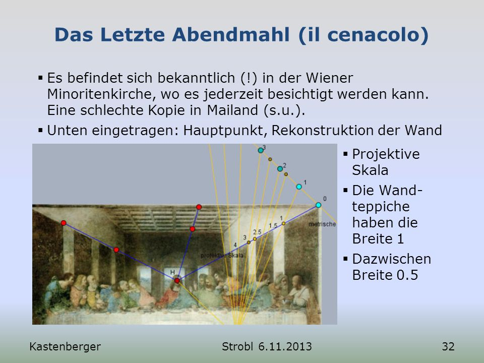 Das Letzte Abendmahl (il cenacolo) KastenbergerStrobl 6.11.201332 Es befindet sich bekanntlich (!) in der Wiener Minoritenkirche, wo es jederzeit besi