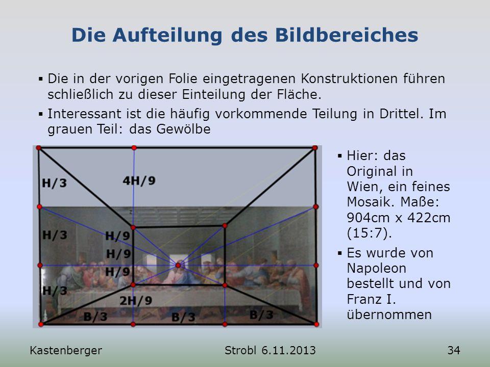 Die Aufteilung des Bildbereiches KastenbergerStrobl 6.11.201334 Die in der vorigen Folie eingetragenen Konstruktionen führen schließlich zu dieser Ein