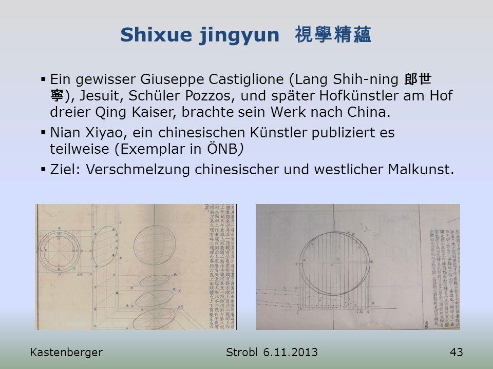 Shixue jingyun KastenbergerStrobl 6.11.201343 Ein gewisser Giuseppe Castiglione (Lang Shih-ning ), Jesuit, Schüler Pozzos, und später Hofkünstler am H