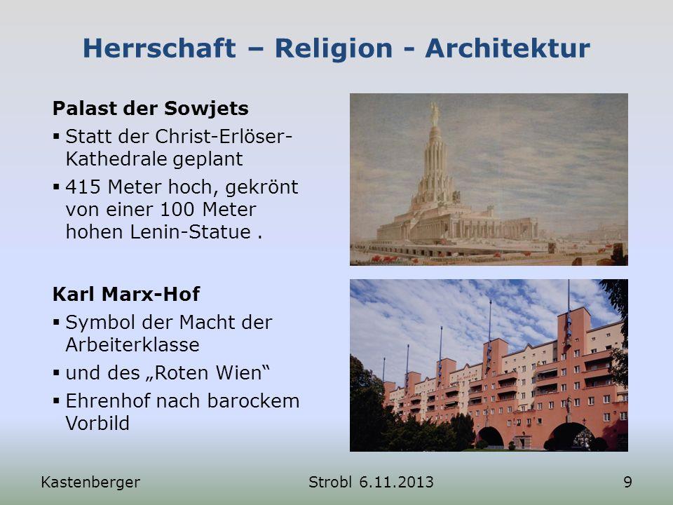 Herrschaft – Religion - Architektur Karl Marx-Hof Symbol der Macht der Arbeiterklasse und des Roten Wien Ehrenhof nach barockem Vorbild KastenbergerSt