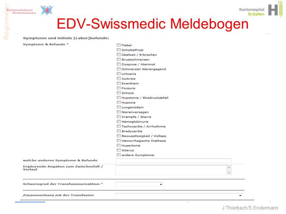 EDV-Swissmedic Meldebogen 23 J.Thierbach/S.Endermann