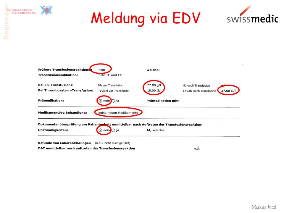 Markus Jutzi 31 Meldung via EDV