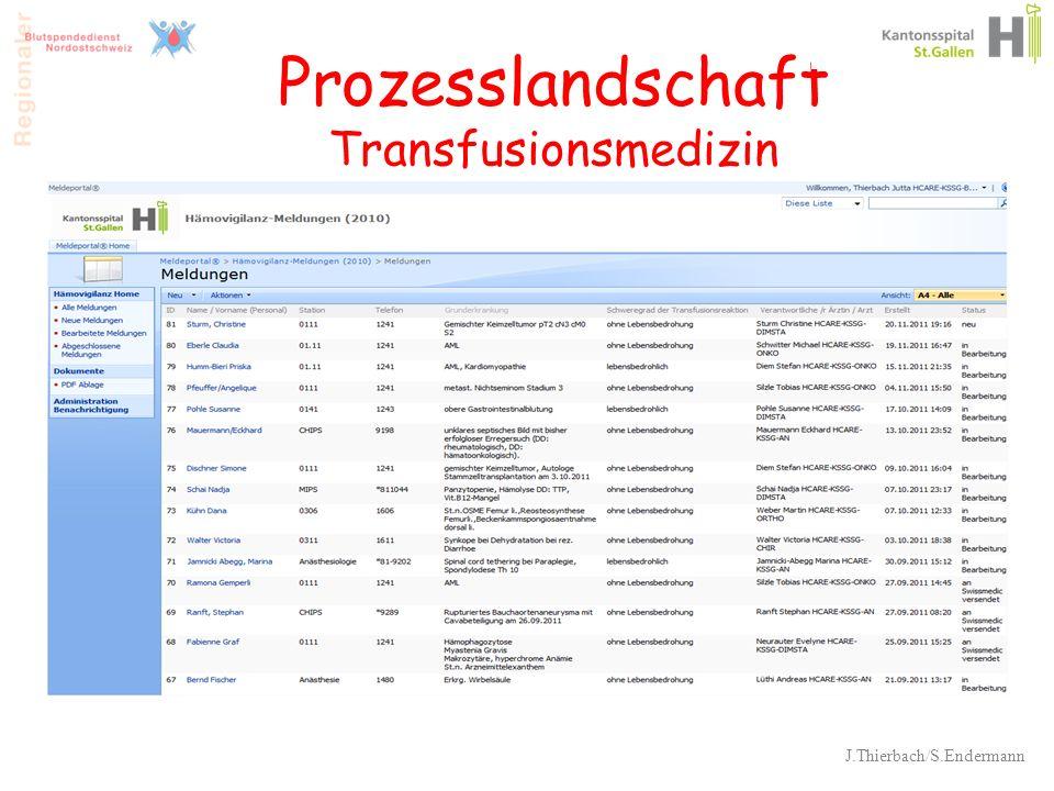 Prozesslandschaft Transfusionsmedizin J.Thierbach/S.Endermann 33
