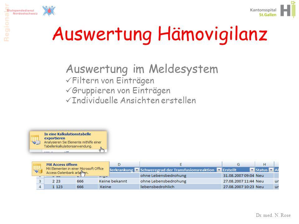 Auswertung Hämovigilanz Auswertung im Meldesystem Filtern von Einträgen Gruppieren von Einträgen Individuelle Ansichten erstellen 36 Dr. med. N. Rose