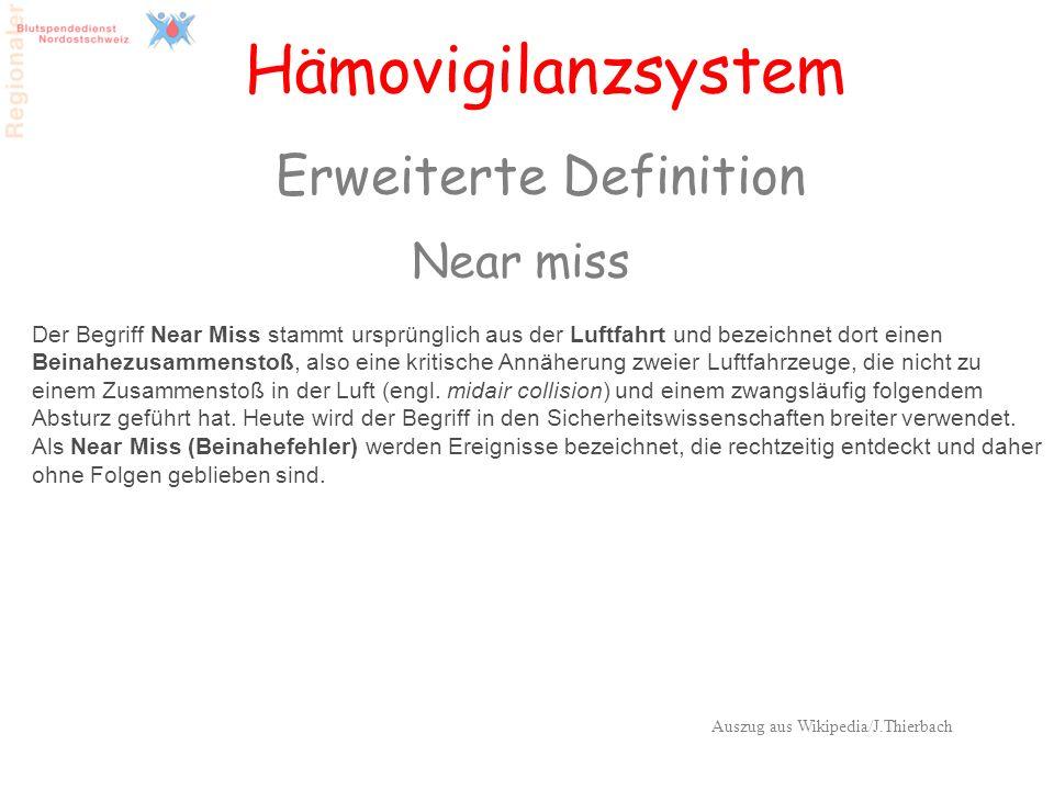 39 Hämovigilanzsystem Erweiterte Definition Near miss Der Begriff Near Miss stammt ursprünglich aus der Luftfahrt und bezeichnet dort einen Beinahezus