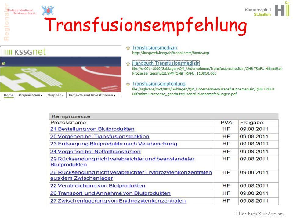 Transfusionsempfehlung J.Thierbach/S.Endermann 40