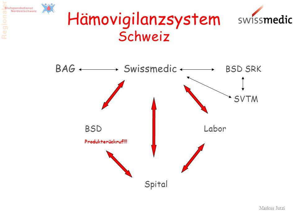 9 Hämovigilanzsystem Schweiz BAG Swissmedic BSD SRK SVTM BSDLabor Produkterückruf!!! Spital Markus Jutzi