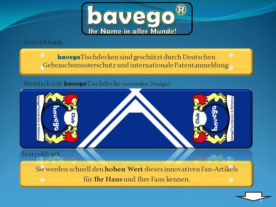 2 bavego Tischdecken sind geschützt durch Deutschen Gebrauchsmusterschutz und internationale Patentanmeldung.